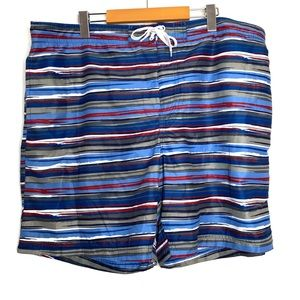 NEW Bathing Suit Blue Grey Red Striped Shorts XL
